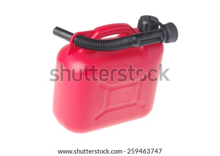 red plastic canister isolated on white - stock photo