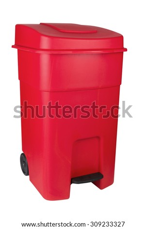 Red plastic dumpster bin with pedal - stock photo