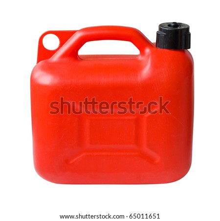 Red Plastic Gas can (fuel container) isolated with clipping path - stock photo