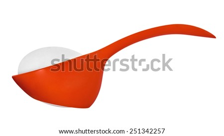 Red plastic holder for eggs isolated on white. Clipping path included. - stock photo