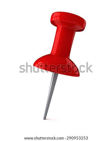 Red plastic pushpin isolated on white - stock photo