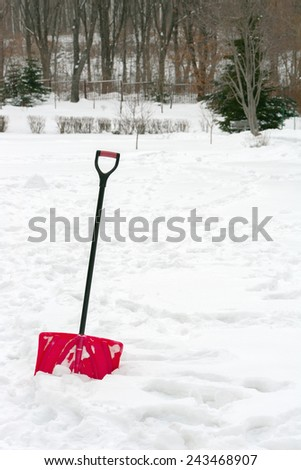 Red plastic shovel with black handle stuck in fluffy white snow. - stock photo