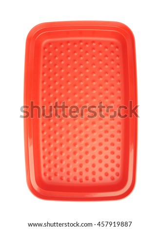 Red plastic tableware food container isolated over the white background - stock photo