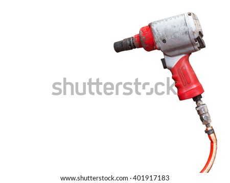 Red pneumatic wrench, tool for industrial  on white. - stock photo