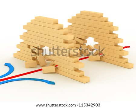 Red pointer pushes through through a wall - stock photo