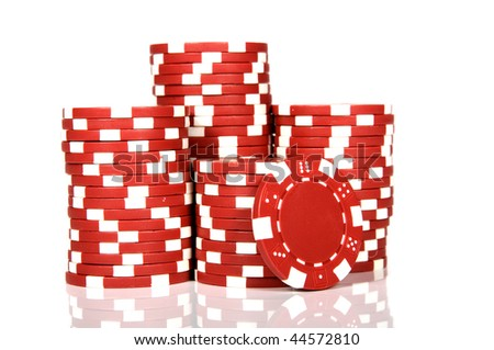 red poker chips - stock photo