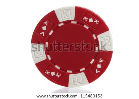 red poker chips on white - stock photo