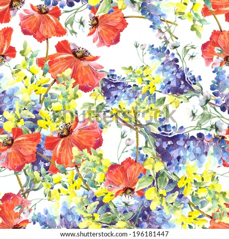 Red  Poppies and Summer Blue Flowers seamless pattern. Watercolor illustration. - stock photo