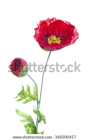 red poppies artificial flower isolated on white background - stock photo