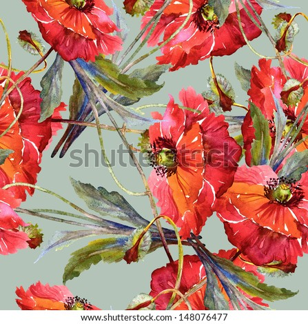 Red Poppies Seamless Pattern - stock photo