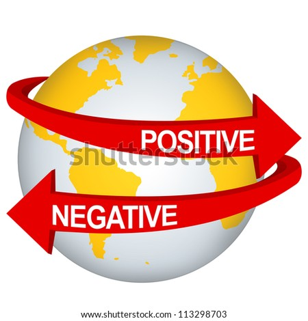 Red Positive And Negative Arrow Around The Yellow Earth For Business Direction Concept Isolate on White Background - stock photo