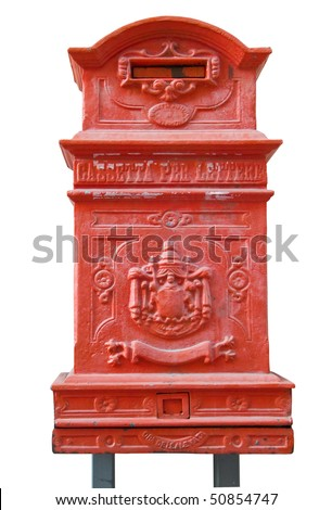 Red Postbox isolated on white. - stock photo
