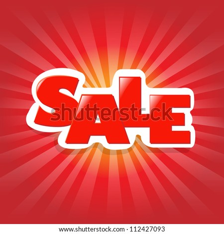 Red Poster Sale, Advertising Banner - stock photo