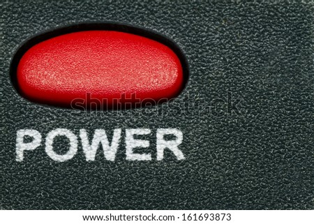 Red power button on black background  - stock photo