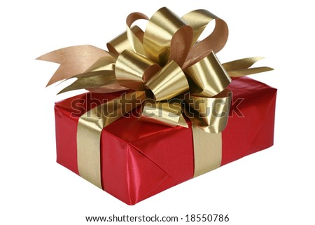 Red present with gold bow and ribbons - stock photo
