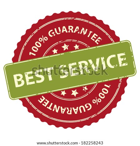 Red Promotional or Marketing Material, Sticker, Rubber Stamp, Icon or Label for Best Service 100 Percent Guarantee Isolated on White Background  - stock photo