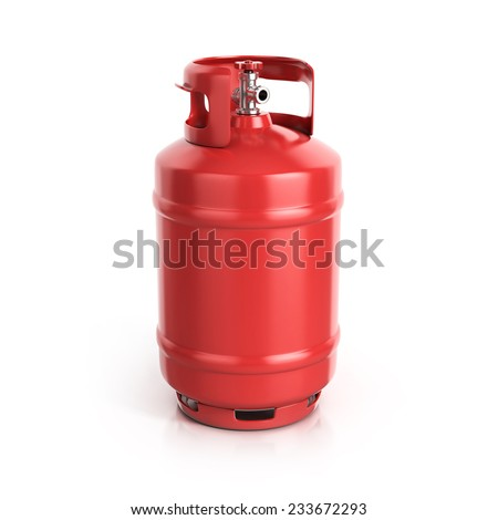 red propane cylinder with compressed gas - stock photo