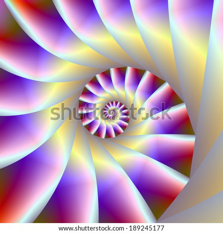 Red Purple and White Spiral / Digital abstract fractal image with a spiral design in red, purple and white. - stock photo