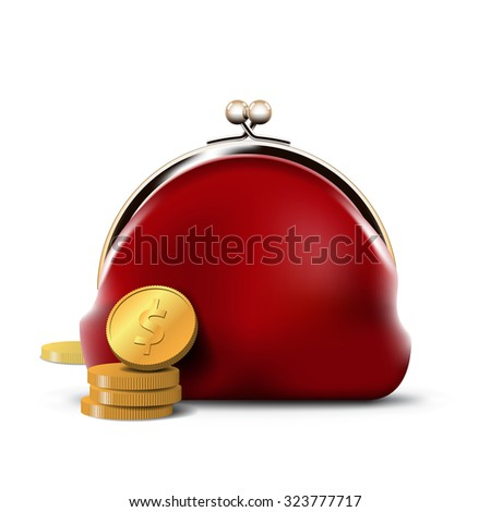 Red Purse with Gold Coins - stock photo