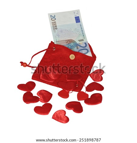 Red purse with red hearts and twenty euro banknote - stock photo