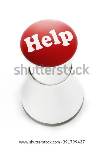 Red push button with Help inscription - stock photo