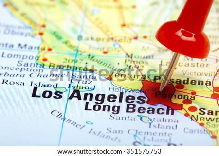 red push pin pointing at Los Angeles, USA  - stock photo