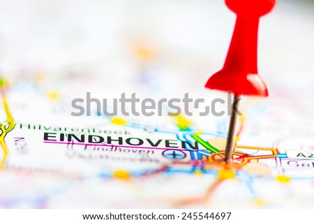 Red pushpin showing Eindhoven City On Map, Netherlands, Travel Destination Concept - stock photo