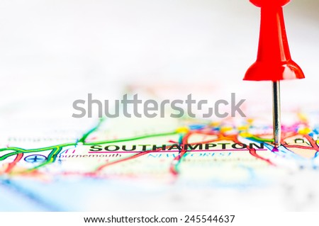 Red pushpin showing Southampton City On Map, United Kingdom, Travel Destination Concept  - stock photo