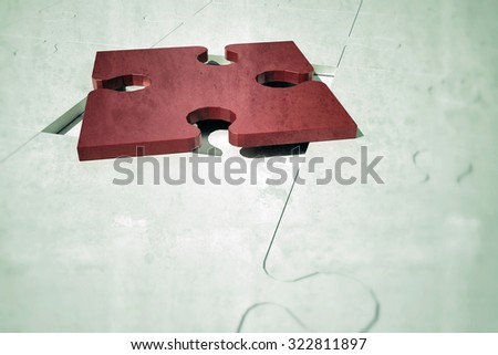 red puzzle piece on the right place - stock photo