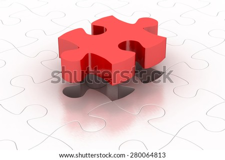 Red puzzle piece with item puzzle background, 3D render - stock photo