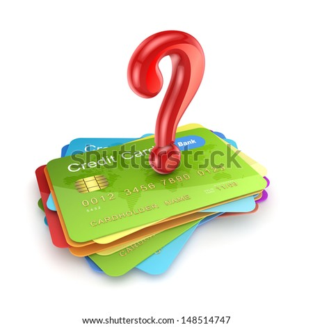 Red query mark on colorful credit cards.Isolated on white.3d rendered. - stock photo