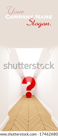 Red question mark at the end of a blind corridor - stock photo