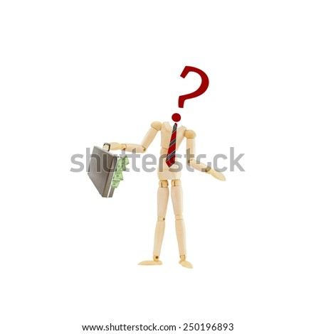 Red Question mark Mannequin dress in businessman attire wearing red striped tie holding attache briefcase overflowing with american money one hundred dollar bills isolated on white background - stock photo