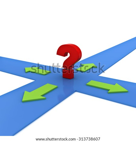 Red question mark on the crossroad with four green arrow directions over white background - stock photo