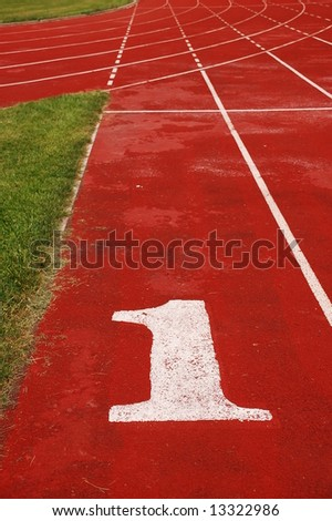 Red race track, number 1 - stock photo