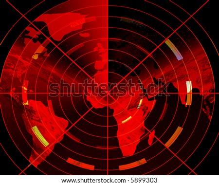 Red radar - stock photo