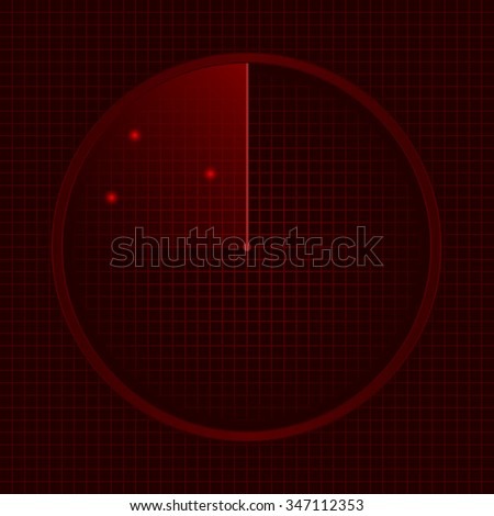Red radar screen, technology concept. Raster illustration - stock photo