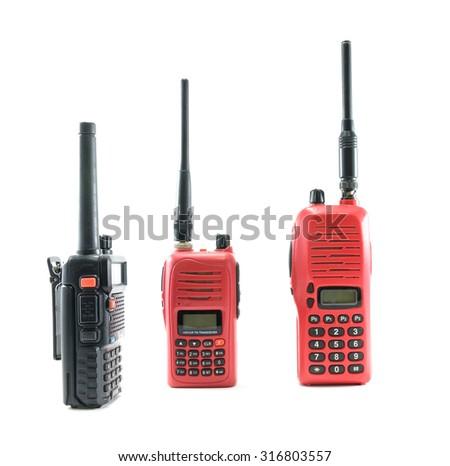 Red radio and black radio communication on white background - stock photo