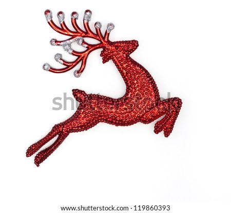red raindeer on white background - stock photo