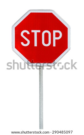 Red realistic stop road sign on rod isolated on white - stock photo
