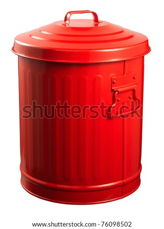 Red Recycle Bins Isolated on white - stock photo