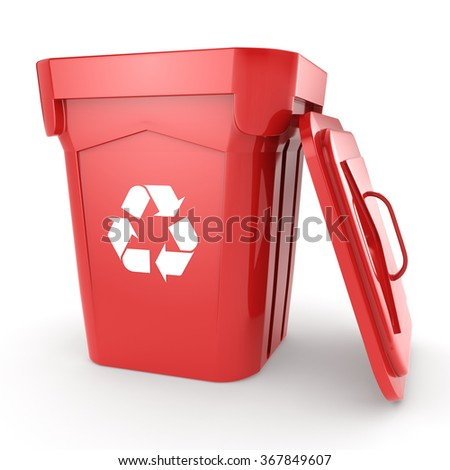 Red Recycling Bin isolated on white background - stock photo