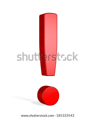 Red reflective 3d exclamation mark isolated on white - stock photo