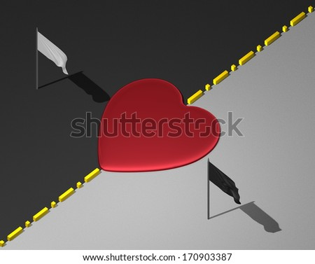 Red reflective heart on yellow divisional line between black and white areas with white and black flags - stock photo
