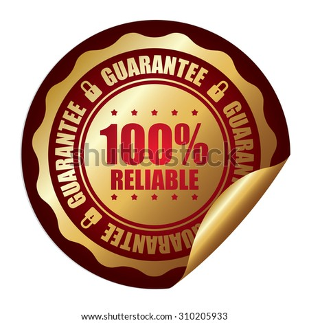 Red 100% Reliable Guarantee Infographics Peeling Sticker, Label, Icon, Sign or Badge Isolated on White Background  - stock photo