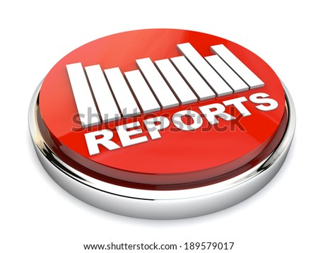 Red Report button with chart over white background - stock photo