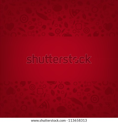 Red Restaurant Background With Menu Ahd Icon - stock photo