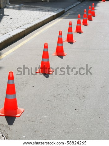 Red restrictive sign - stock photo