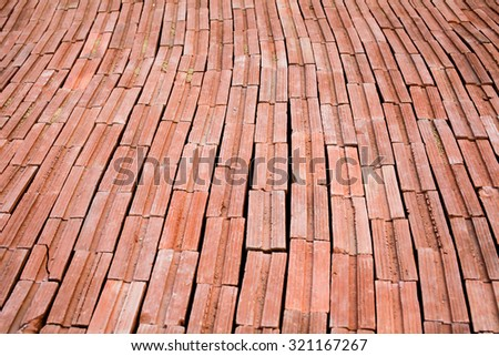 Red retro antique brick blocks floor for texture wall background - stock photo