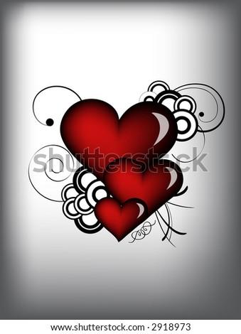 red retro hearts - stock photo